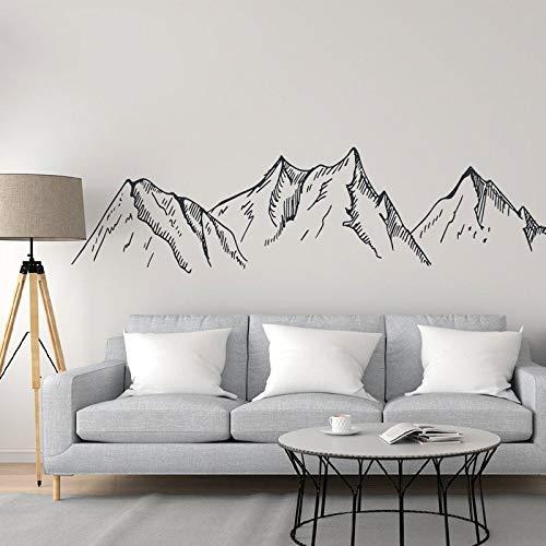 Berg silhouet muur sticker berg vinyl sticker boer huis muurschildering woonkamer moderne kamer decoratie 87x22.5cm