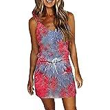 VCAOKF Vestido corto de verano para mujer, talla grande, con dobladillo irregular, estilo informal, con volantes en forma de T, color rosa, verde, azul claro, azul, rojo y lila, rojo, L
