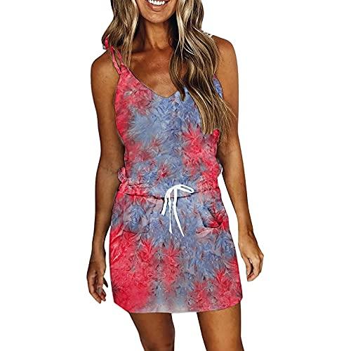 Vestido de verano para mujer, talla grande, dobladillo irregular, minivestido, sexy, cuello en V, vestido de cóctel, vestido de fiesta colorido, rosa, verde, azul, rojo, lila rojo M