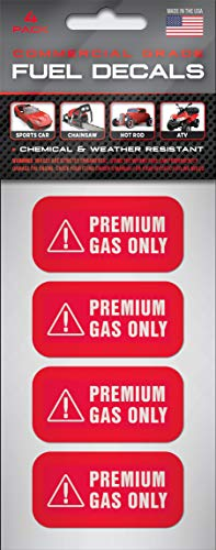 """""""Premium Gas Only"""" Stickers   2""""x1""""   4-pack   Weather Resistant, Ultra Durable, Commercial Grade Decals"""