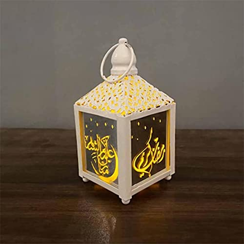 Solar Net Lights, Elegant Square Ramadan Hanging Lights, Garden Light Bulbs Mubarak Element Lights Festival Lights Outdoor are Suitable for Garden Outdoor Decoration. Retro Design (Color : White)