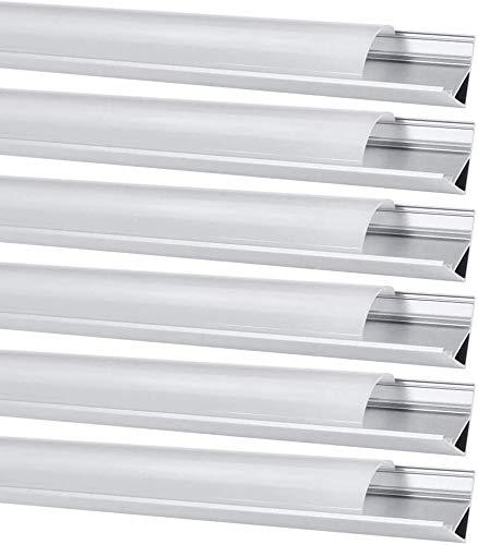 Perfil de Aluminio, Jirvyuk 6 Pack 1 m/3,3 ft Perfil de Aluminio LED para Luces de Tira del LED con Cubierta Blanca Lechosa, Los Casquillos de Extremo y los Clips de Montaje del Metal