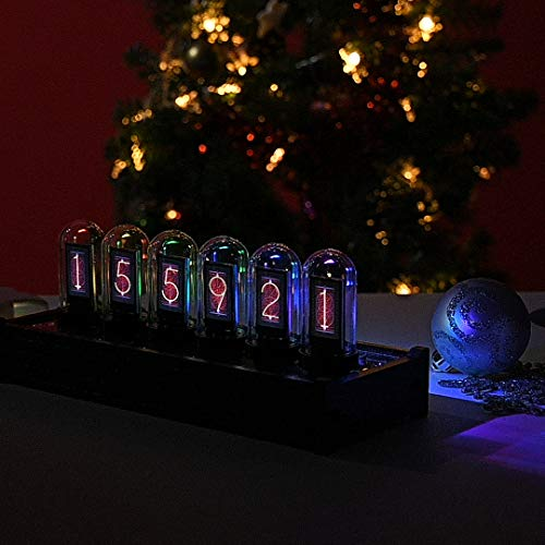 PaNt Reloj de Tubo Digital LED Tube Clock Kit Reloj Creative, Nixie Clock de Resplandor Ajustable Digital Creativo con Cable USB Cumpleaños Día San Valentín Escuela Regalo Creativo
