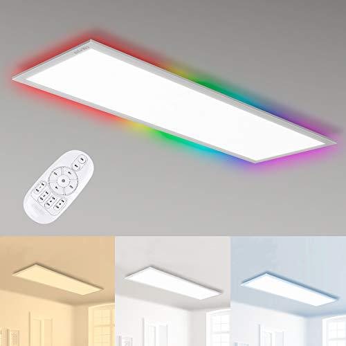 Albrillo 35W LED Panel 120x30cm - Dimmbar RGB Farbwechsel und 2700K-6500K Farbtemperatur Einstellbar, Deckenleuchte Panel mit Timing-Off, Nachtlicht, Lesemodus, Entspannungsmodus, Arbeitsmodus