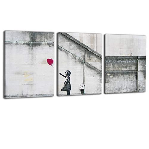 My Life 壁 落書き 女の子 赤い風船 インテリアアートパネル キャンバス絵画 アートパネル 壁掛け 部屋飾り 背景絵画 現代壁の絵 木枠付きの完成品 バンクシー ポスター 現代 新築お祝いに最適 3枚