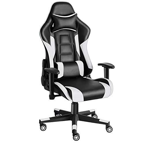 Twomaples Gaming Stuhl, Racing Computerstuhl Ergonomischer Bürostuhl, Drehbar Höhenverstellbar Gaming Chair, PC Stuhl mit Kopfstütze, 150 KG Belastbarkeit (Schwarz/Weiß)
