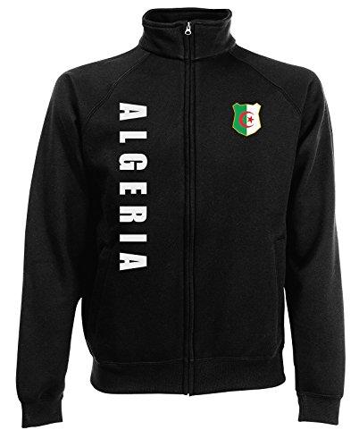 AkyTEX Algerien Algeria WM-2022 Sweatjacke Wunschname Nummer Schwarz XL