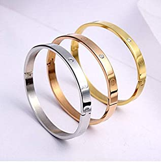 18K Real Gold Plated Cartier Style Bangle w/Rhinestones