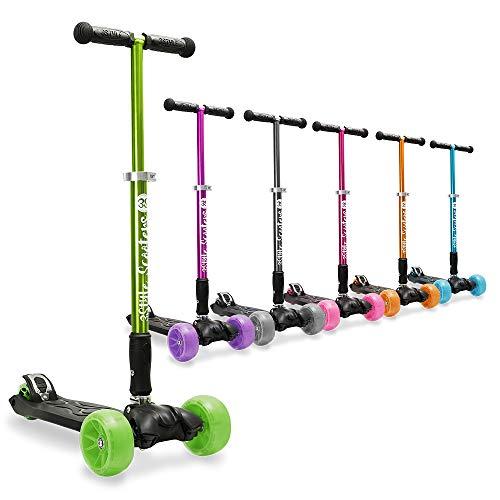 3StyleScooters® RGS-3 Patinete Scooter Tres Ruedas para Niños Mayores Niños de 7 Años o Más con Luces LED en Ruedas de 5cm, Diseño Plegable, Manillar Ajustable (Verde, 7 Años y Más)
