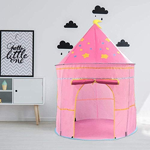 Lhak Portable outdoor tent Hiking camping tent children play castle house gift toy boy and girl imagination playground (Color : Pink, Size : 105x105x135cm)