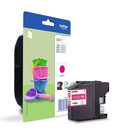 Brother LC221MBP Cartucho de tinta magenta original para las impresoras DCPJ562DW, MFCJ480DW y MFCJ880DW, duración estimadahasta 260 páginas (según ISO/IE 24711)