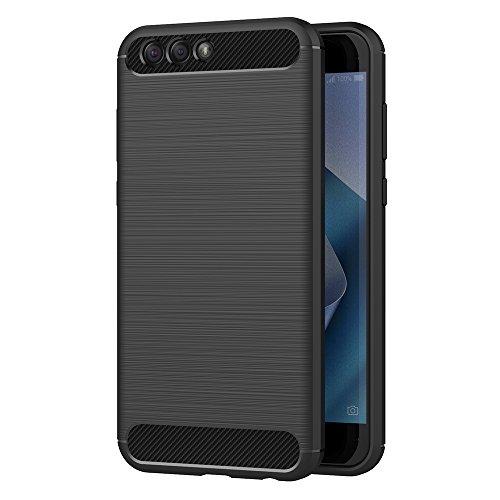 AICEK ASUS Zenfone 4 ZE554KL Hülle, Schwarz Silikon Handyhülle für Zenfone 4 ZE554KL Schutzhülle Karbon Optik Soft Hülle (5,5 Zoll)