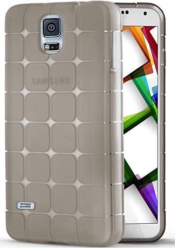 moex Federleichte Silikonhülle mit mattem Würfel-Muster [Geometrisch] passend für Samsung Galaxy S5 | Sehr Rutschsicher & Flexibel, Schwarz