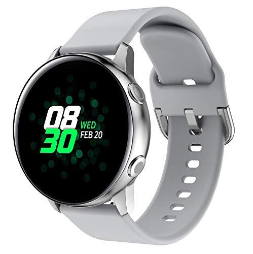SUNDAREE Compatible con Correa Galaxy Watch Active 2,20MM Silicona Reemplazo Correas Banda Pulseras de Reloj Inteligente para Samsung Galaxy Watch Active SM-R500/Active2 40MM 44MM/Garmin Venu(Grey 20)