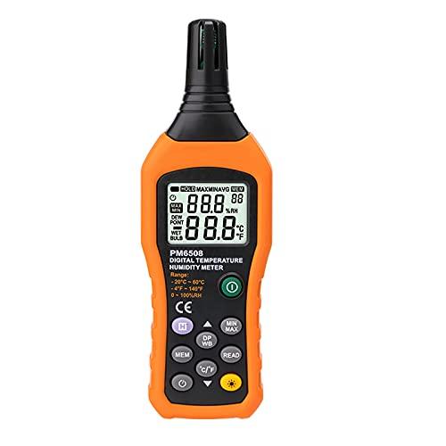 Nachar Termómetro digital de alta precisión, higrómetro de mano, multiusos, luz negra, medidor de temperatura portátil para la industria agrícola, acuicultura