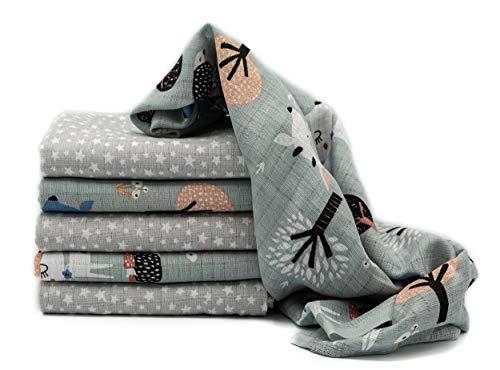 Clevere Kids Mulltücher Sterne grau | 6er Pack | Spucktücher Mullwindeln | 70x80 | doppelt gewebt |OEKO-TEX (Reh hellgrau- Twinklestar)
