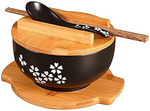 LLJPJXB Cuencos de Cereales, Cuencos para Sopa Cuenco De Ramen De Estilo Japonés con Tapa De Bambú, Palillos Y Cuchara De Porcelana, Cuenco De Ramen De Porcelana, Cuenco De Sopa, para Arroz, Udon