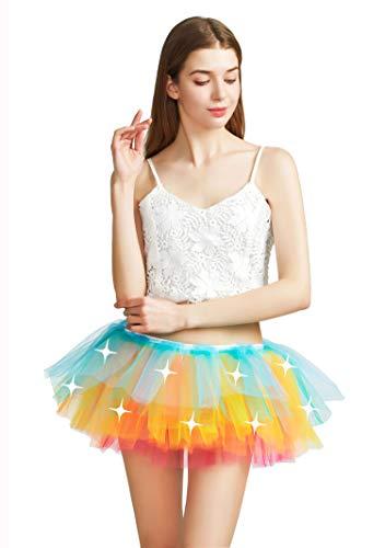 Women LED Tutu Light Up Neon Rainbow 5 Layered Party Dance Tulle Skirt Rainbow