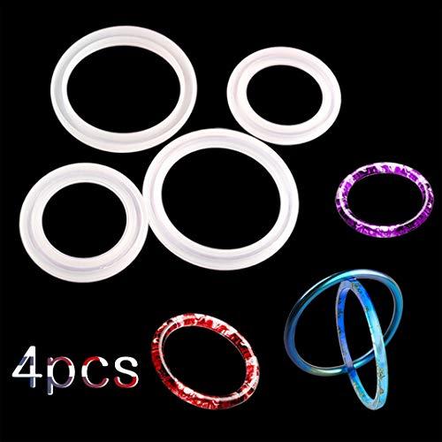 iSuperb 4 Stück Epoxidharz Formen Armreif Gießform Schmuck Silikonform Resin Mold für Armband Ringe DIY Basteln (4 Formen)