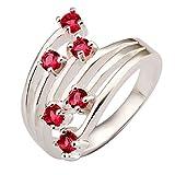 joyliveCY-la moda mujer elegante chapado en plata 925 anillo de seis aros de seis Rose Zircon Reino Unido tama?o Q