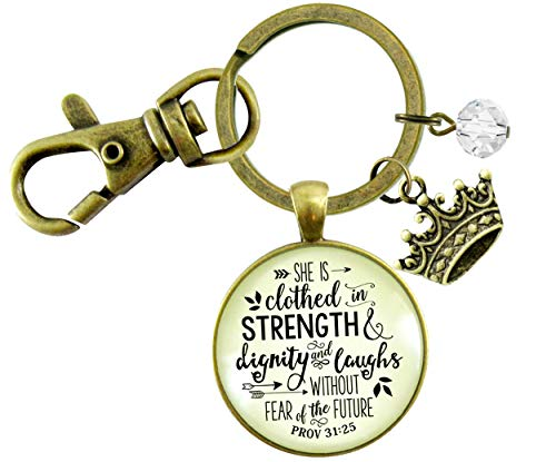 Gutsy Goodness Faith Keychain She is Clothed Strength Dignity Jewelry Message Proverb 31 Crown Gift