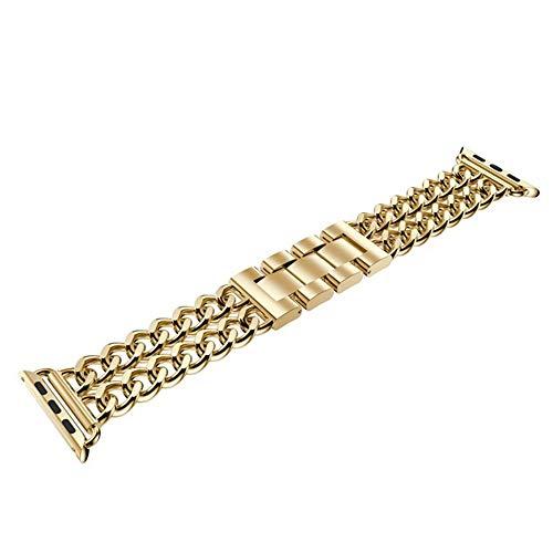 RHBLHQ Relojes Correas Acero Inoxidable Pulsera de fleje 38/42/40 / 44mm Denim Correa de la Cadena Hombres Mujeres Correa de Reloj (Band Color : Gold, Band Width : For 38mm)