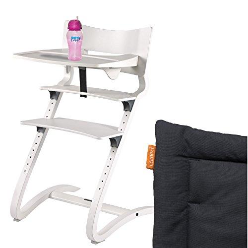 Leander Hochstuhl weiß RAL-9016 Komplettpaket mit Sicherheitsbügel, Tisch, BFree-Trinkbecher und Sitzkissen Coal