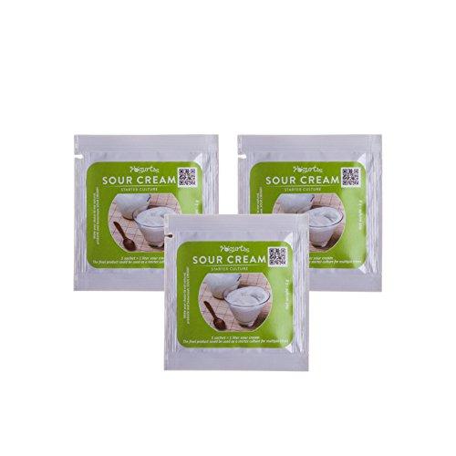 Sauerrahm Starterkultur - organisch, 3 Beutel für 3 Liter originalen hausgemachten Milchprodukt