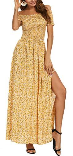 Kormei Womens Floral Off The Shoulder Maxi Sundress Split Boho Summer Beach Long Party Dresses M Yellow Floral