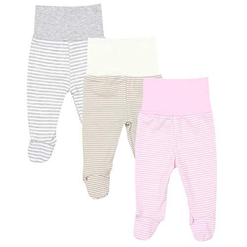 TupTam Baby Mädchen Strampelhose mit Fuß 3er Pack, Farbe: Farbenmix 3, Größe: 56