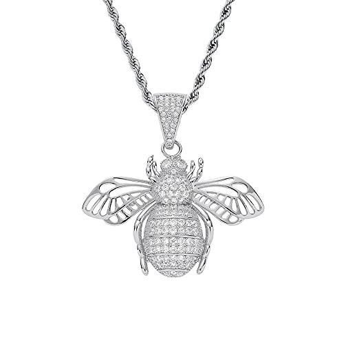 JIAH Collares con colgante de abeja de hip hop para hombre, con circonita AAA, con colgantes hiphop, collar de joyería de regalo (longitud de 50 cm, color de la piedra principal: 4 mm de tenis)