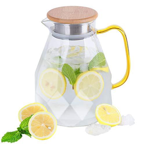Glas Krug, CNNIK 1,5L Borosilikatglas Wasserkrug mit Deckel, Glaskaraffe Wasserkaraffe Wasserkanne Glas Pitcher für Heißes Kaltes Wasser Eistee Wein Kaffee Milch und Fruchtsaft