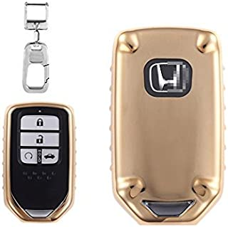 QBUC Car Keyless Replacement Shell Electronic Cover with Extra Key Holder Hook for Honda (Gold)