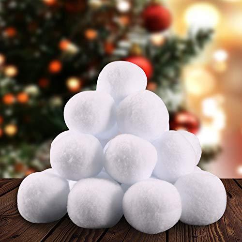 KNMY 30Pcs Schneeball Poms, 7,5 cm gefälschte Schneebälle Indoor- und Outdoor-Schneeballschlacht, Snow Plush Balls Spaß für Winterspiele, Weihnachtsdekoration, Kinder und Erwachsene