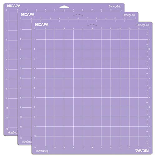 NICAPA Cutting mat for Cricut Maker Explore Air 2 Air One (Stronggrip, 12x12 inches, 3-Pack) Adhesive, Non-Slip, Flexible, Square Grid, Cutting mats for T-Short Vinyl Craft Sewing