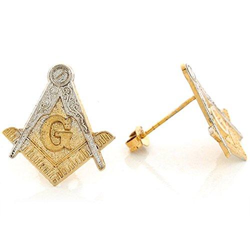10k Two Tone Real 1.94cm X 1.74cm Gold Attractive Masonic Free Mason Post Earrin