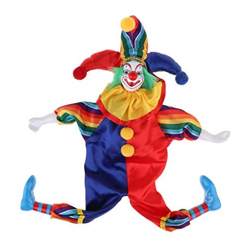 Perfeclan 38cm 15 Zoll Vintage Porzellan Hängenden Fuß Clown Puppe Harlekin Puppe Modell - # 1, 38cm
