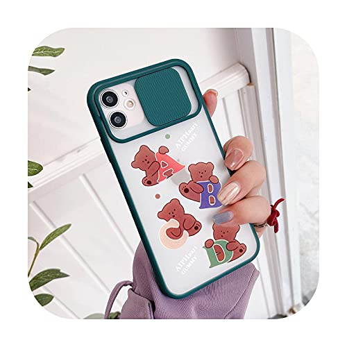 Lindo oso lente proteger teléfono caso para iPhone 11 12 Pro Max mini 7 8 6s Plus XR X XS MAX SE2 letra A B C cubierta fundas capa-estilo 6-para iPhone 11