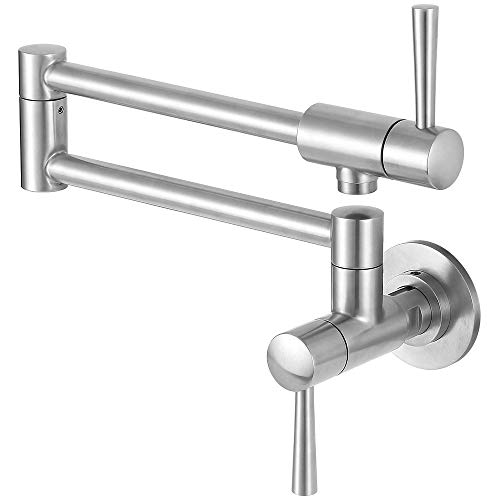 MSTJRY Pot Filler Faucet Wall Mount, Kitchen Faucet Stainless Steel Double Joint Swing Arm Single Hole Two Handle
