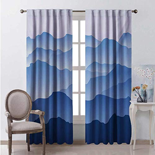 Toopeek Mountain Wear-resistant color curtain Nature Theme A Panoramic Silhouette of the Mountains in the Morning Illustration Print Waterproof fabric W96 x L96 Inch Blue