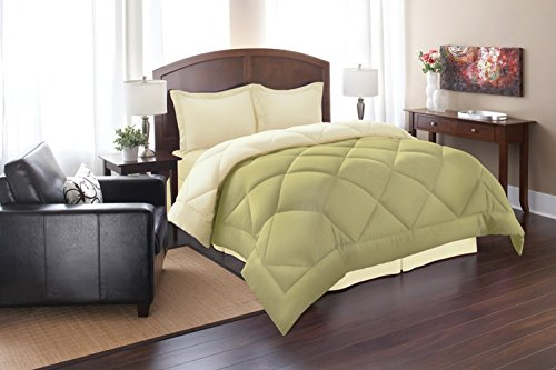 Elegant Comfort All Season Goose Down Alternative Reversible 3-Piece Comforter Set- Available In All Sizes And Colors, King/Cal King, Sage/Cream
