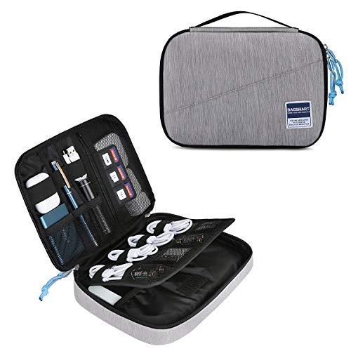 bagsmart Elektronik Tasche Organizer Reise Tasche Elektronische Tasche Doppelschichte für Handy Ladekabel, Kabel, Festplatte, USB Sticks, SD Karten (Grau)