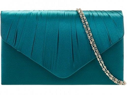 LeahWard Women's Satin Floral Clutch Bags Party Wedding Evening Handbag 8002 (Teal)