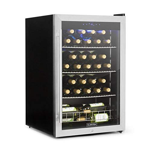Klarstein Falcon Crest Getränkekühler - Glastür, Weinkühlschrank Edelstahlrahmen, 4-18 °C, Touch-Bedienfeld, 128 Liter, 48 Weinflaschen, Schloss, 2 Schlüssel, 42 dB, Edelstahl, silber