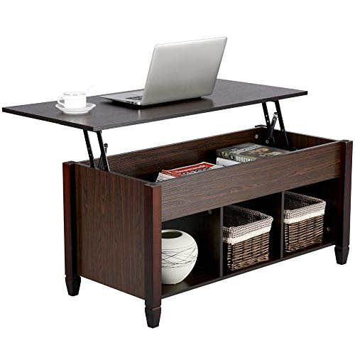 YAHEETECH Lift Top Coffee Table with Hidden Storage Compartment & Shelf, Lift...