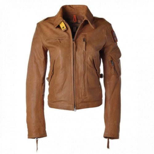 PARAJUMPERS Damen Sommer Lederjacke Stalker Leather Cognac Brown LE01 Größe S