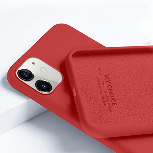 Funda Silicone Case Compatible con Iphone 11/12/12 Pro/12 Pro Max Antioxidante Carcasa de Silicona Suave Antideslizante Case con Forro de Microfibra Protección de Cuerpo Completo,Rojo,12 Pro Max