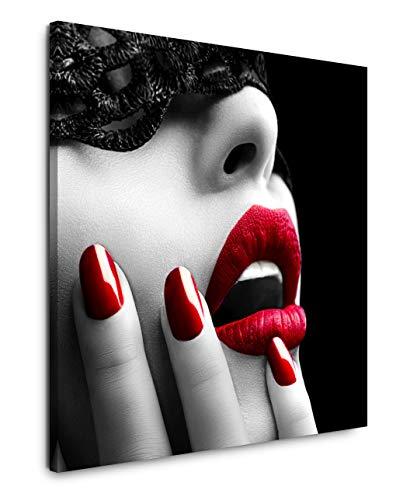 EAUZONE GmbH Frau mit roten Lippen 60x60cm Wandbild auf Leinwand, Kunstdruck Moderne Bilder