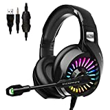 ZIUMIER Gaming Headset with Microphone, PS4 Headset Xbox One Headset with RGB Light, Wired PC Headset with 7.1 Stereo Surround Sound, Over-Ear Headphones for PC, PS4, Xbox One, Laptop (Renewed)