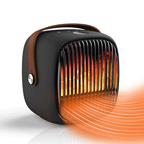 Space Heater, Ovicr fire flame effect heater Air Circulator Fan 2 in 1 Electric Portable Quiet Cooling&Heating Mode Space Heater for indoor bedroom with Tip Over & Overheat Protection 8H Timer